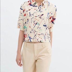 Zara Woman Splatter Paint Magnificent Cropped Top